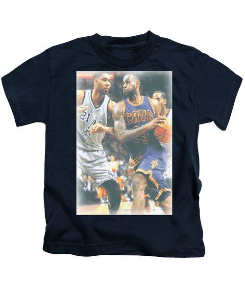 Cleveland Cavaliers Lebron James 4 Kids T-Shirt by Joe Hamilton