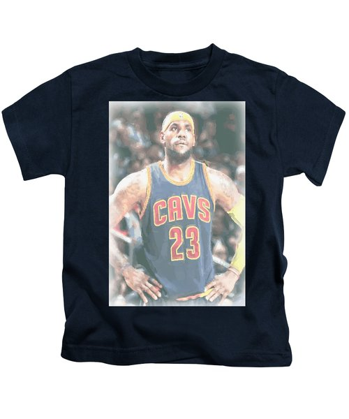 Cleveland Cavaliers Lebron James 5 Kids T-Shirt by Joe Hamilton