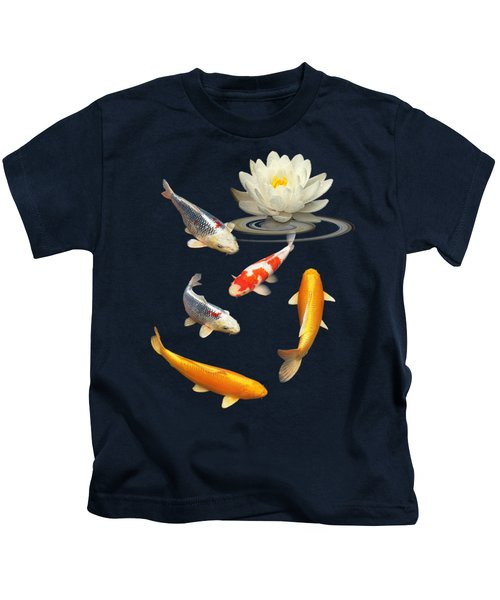 Colorful Koi With Water Lily Kids T-Shirt by Gill Billington