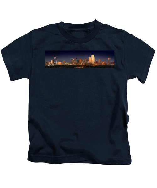 Dallas Skyline At Dusk  Kids T-Shirt by Jon Holiday