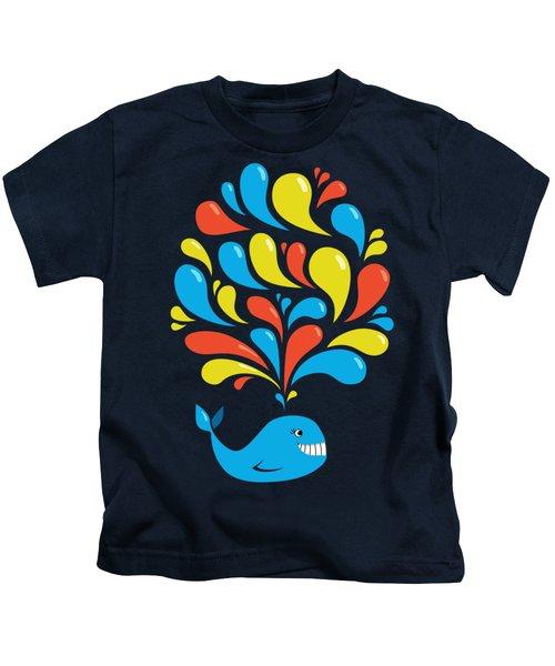 Dark Colorful Splash Happy Cartoon Whale Kids T-Shirt by Boriana Giormova