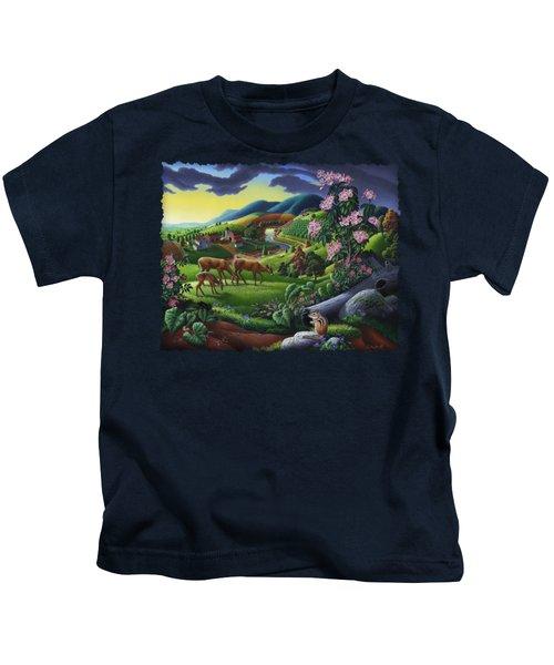Deer Chipmunk Summer Appalachian Folk Art - Rural Country Farm Landscape - Americana  Kids T-Shirt by Walt Curlee