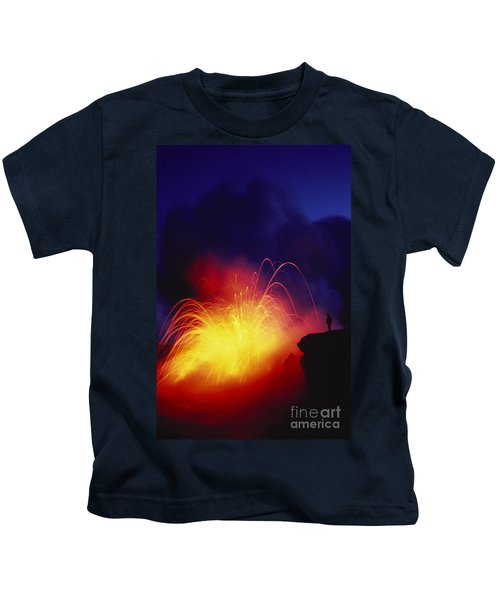 Exploding Lava And Person Kids T-Shirt by Greg Vaughn - Printscapes