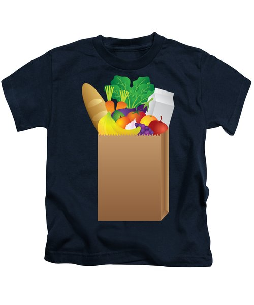 Grocery Paper Bag Of Food Illustration Kids T-Shirt by Jit Lim