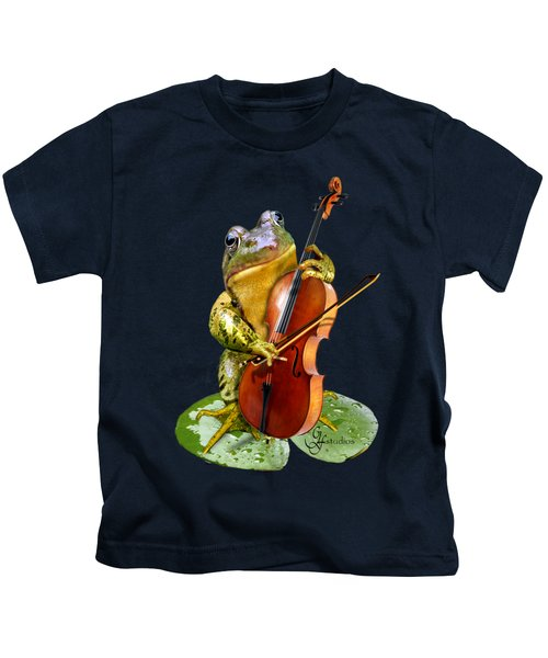 Humorous Scene Frog Playing Cello In Lily Pond Kids T-Shirt by Regina Femrite