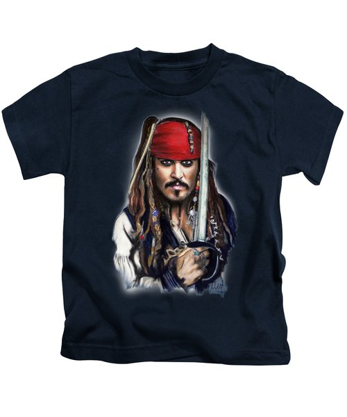Johnny Depp As Jack Sparrow Kids T-Shirt by Melanie D