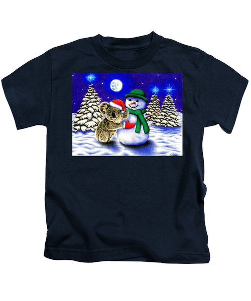 Koala With Snowman Kids T-Shirt by Remrov