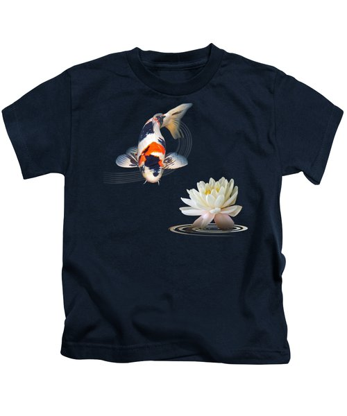 Koi Carp Abstract With Water Lily Square Kids T-Shirt by Gill Billington