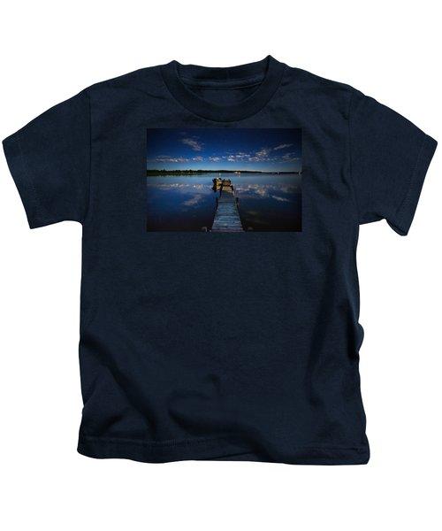 Midnight At Shady Shore On Moose Lake Minnesota Kids T-Shirt by Alex Blondeau