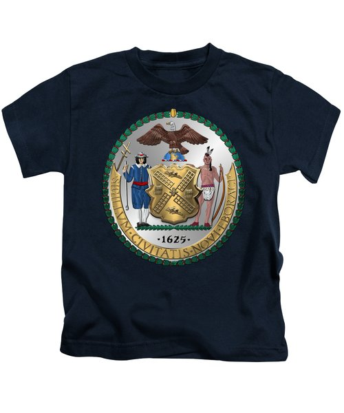 New York City Coat Of Arms - City Of New York Seal Over Blue Velvet Kids T-Shirt by Serge Averbukh