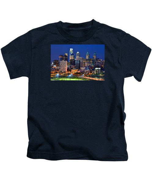 Philadelphia Skyline At Night Kids T-Shirt by Jon Holiday