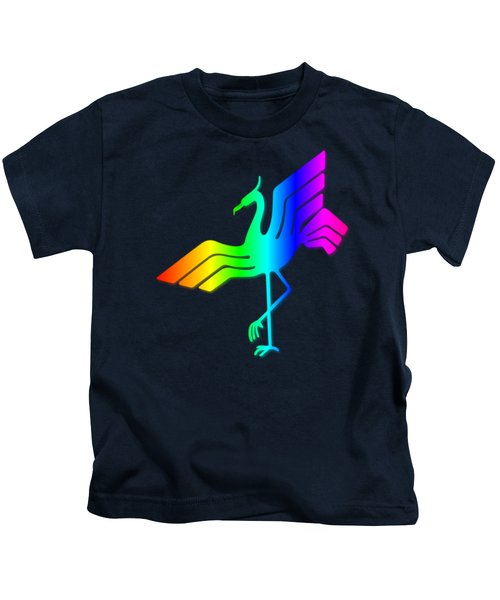 Rainbow Stork Kids T-Shirt by Frederick Holiday