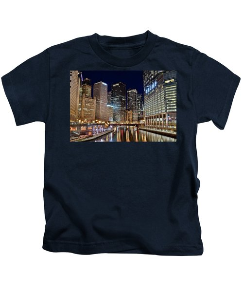 River View Of The Windy City Kids T-Shirt by Frozen in Time Fine Art Photography