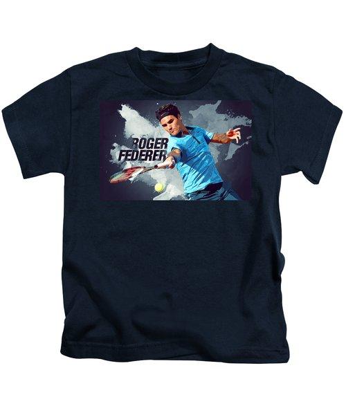 Roger Federer Kids T-Shirt by Semih Yurdabak