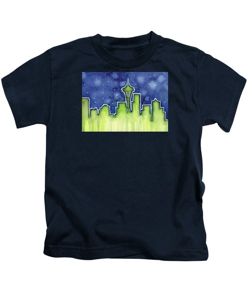 Seattle Night Sky Watercolor Kids T-Shirt by Olga Shvartsur