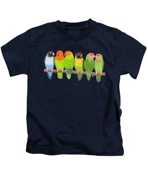 Six Lovebirds Kids T-Shirt by Rita Palmer