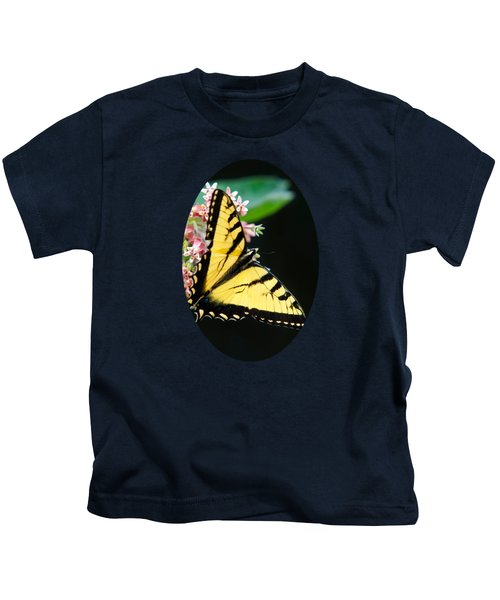 Swallowtail Butterfly And Milkweed Flowers Kids T-Shirt by Christina Rollo