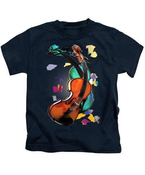 Violins Kids T-Shirt by Melanie D