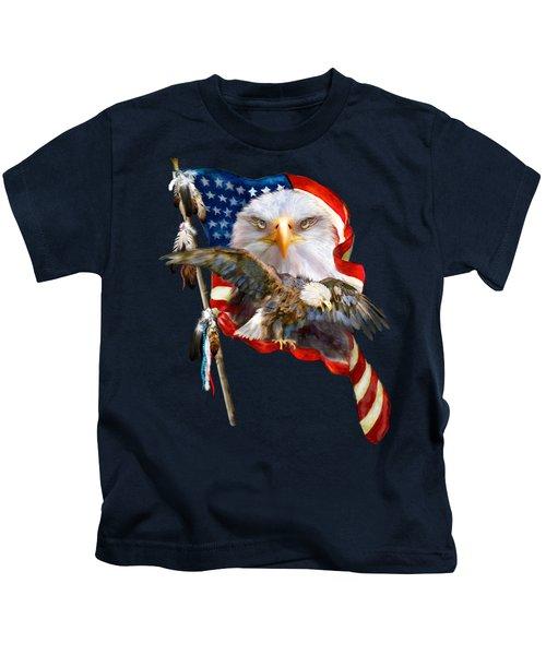 Vision Of Freedom Kids T-Shirt by Carol Cavalaris