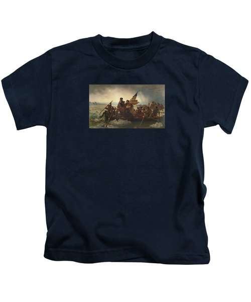 Washington Crossing The Delaware Painting  Kids T-Shirt by Emanuel Gottlieb Leutze