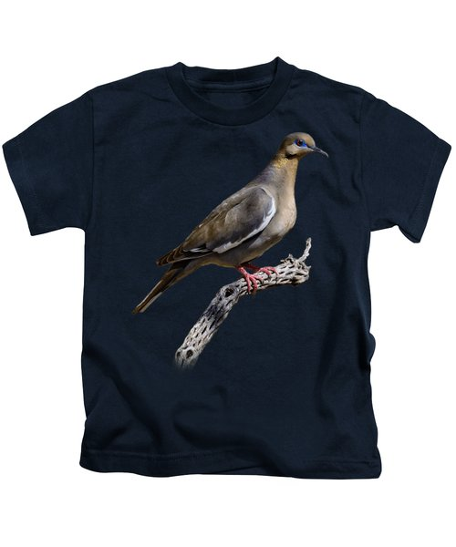 White-winged Dove V53 Kids T-Shirt by Mark Myhaver