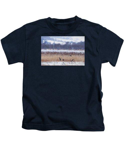 Winter Lapwings Kids T-Shirt by Liz Leyden