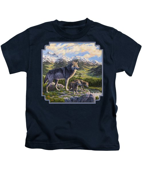 Wolf Painting - Passing It On Kids T-Shirt by Crista Forest