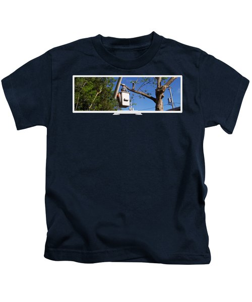 Woodland Tree Service Kids T-Shirt by Evergreenarborists