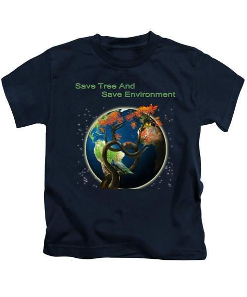 World Needs Tree Kids T-Shirt by Artist Nandika  Dutt