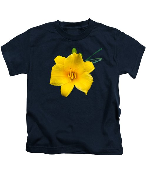Yellow Daylily Flower Kids T-Shirt by Christina Rollo