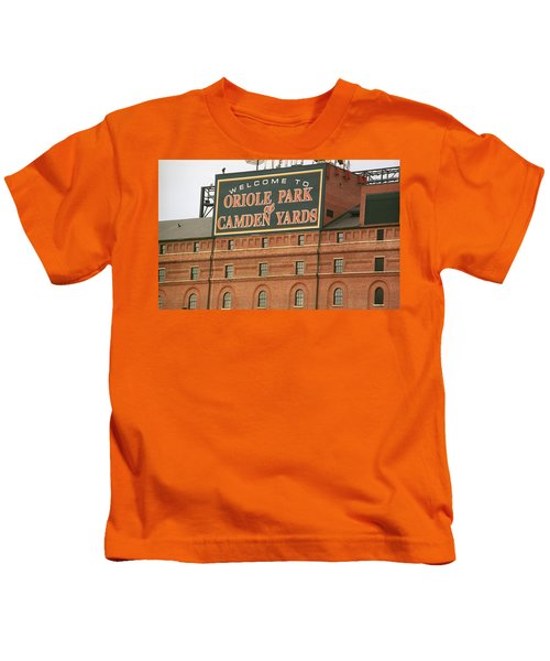 Baltimore Orioles Park At Camden Yards Kids T-Shirt by Frank Romeo
