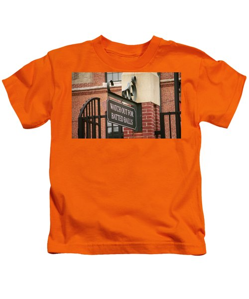Baseball Warning Kids T-Shirt by Frank Romeo