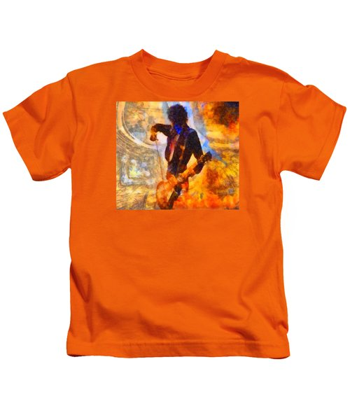 Jimmy Page Playing Guitar With Bow Kids T-Shirt by Dan Sproul
