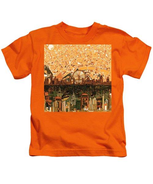 London Skyline Abstract 7 Kids T-Shirt by Bekim Art