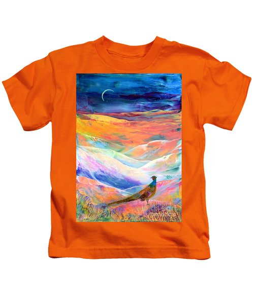 Pheasant Moon Kids T-Shirt by Jane Small