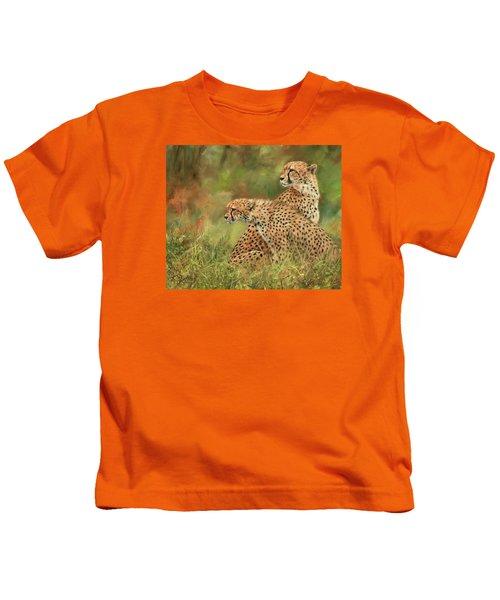 Cheetahs Kids T-Shirt by David Stribbling