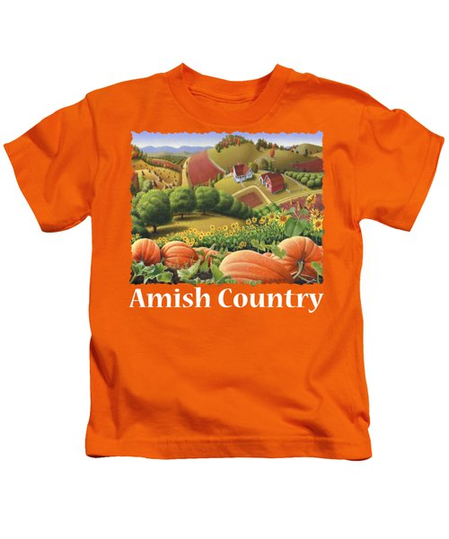 Amish Country T Shirt - Appalachian Pumpkin Patch Country Farm Landscape 2 Kids T-Shirt by Walt Curlee
