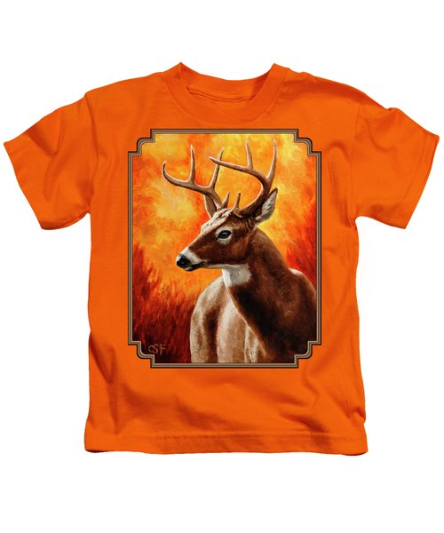 Whitetail Buck Portrait Kids T-Shirt by Crista Forest