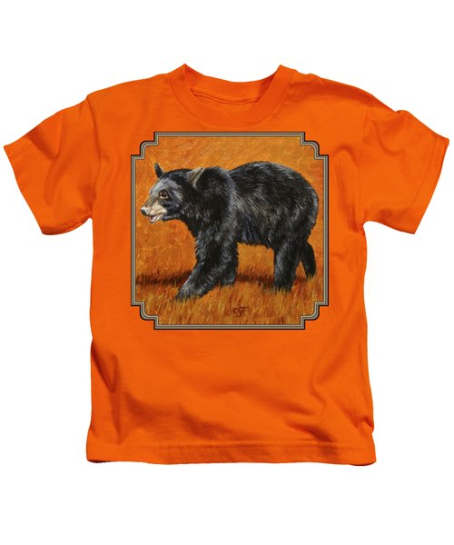 Autumn Black Bear Kids T-Shirt by Crista Forest