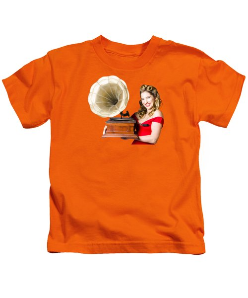 Beautiful Woman With Gramophone Isolated On White Kids T-Shirt by Jorgo Photography - Wall Art Gallery