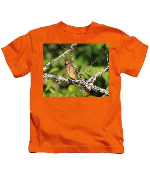Cedar Waxwing  Kids T-Shirt by Carol R Montoya