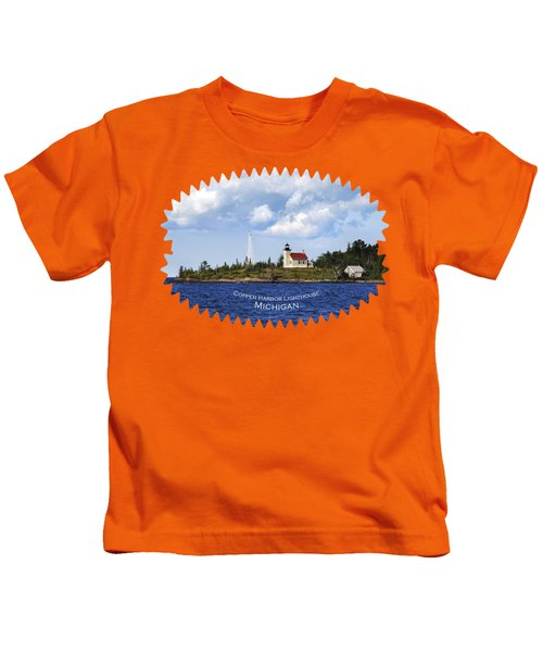 Copper Harbor Lighthouse Kids T-Shirt by Christina Rollo