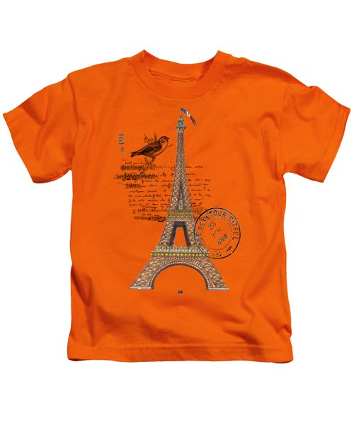 Eiffel Tower T Shirt Design Kids T-Shirt by Bellesouth Studio