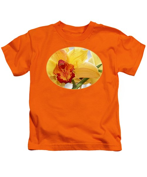 Golden Cymbidium Orchid Kids T-Shirt by Gill Billington
