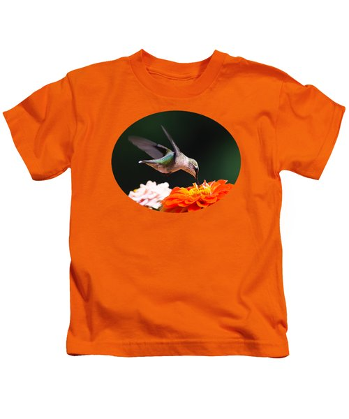 Hummingbird In Flight With Orange Zinnia Flower Kids T-Shirt by Christina Rollo