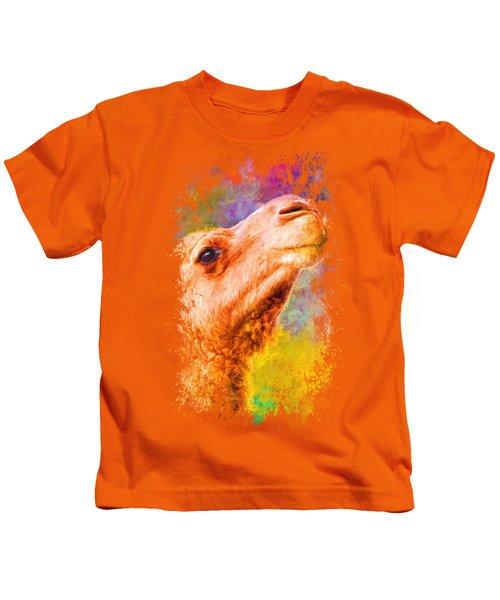 Jazzy Camel Colorful Animal Art By Jai Johnson Kids T-Shirt by Jai Johnson