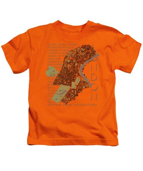 London Classic Map Kids T-Shirt by Jasone Ayerbe- Javier R Recco