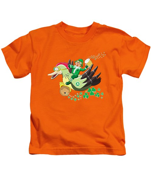 Lucky Leprechaun Kids T-Shirt by David Brodie