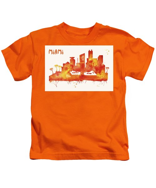 Miami Skyline Watercolor Poster - Cityscape Painting Artwork Kids T-Shirt by Beautify My Walls