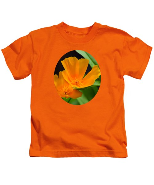 Orange California Poppies Kids T-Shirt by Christina Rollo